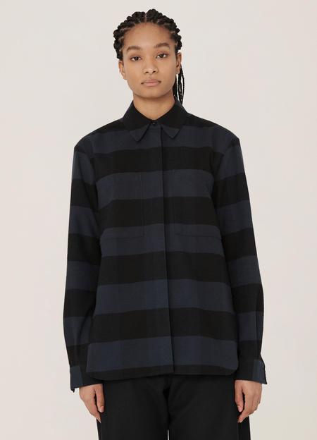 YMC Work Cotton Stripe Shirt - Navy Black