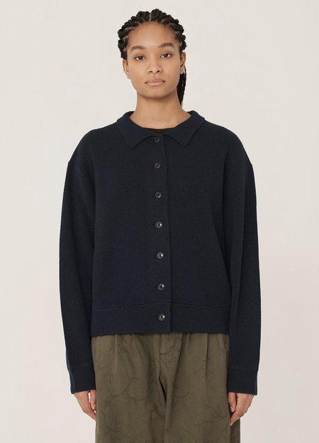 YMC Rat Pack Merino Wool Pique Knit Cardigan - Navy