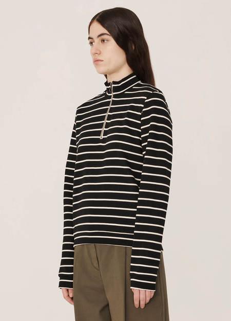 YMC No Wave Organic Cotton Loopback Sweatshirt - Stripe Black Ecru