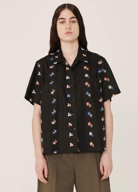 YMC Vegas Rayon Cotton Floral Shirt -  Black