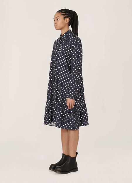 YMC Luna Rayon Cotton Dot Print Dress - Navy Ecru