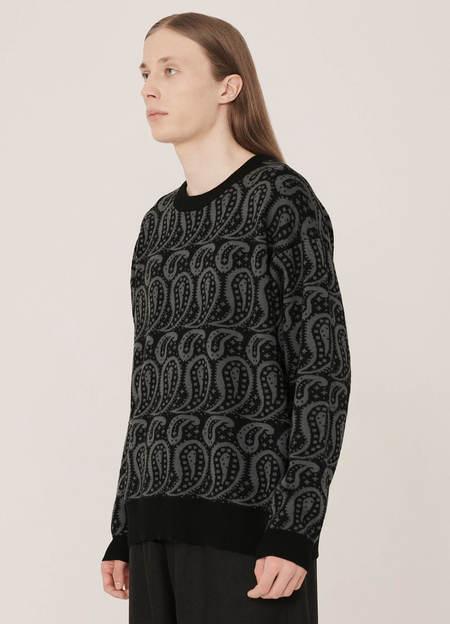YMC Shoegazer Merino Wool Paisley Knitted Jumper - Black Grey
