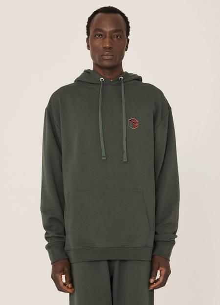 YMC Trugoy Organic Cotton Loopback Hoodie - Green