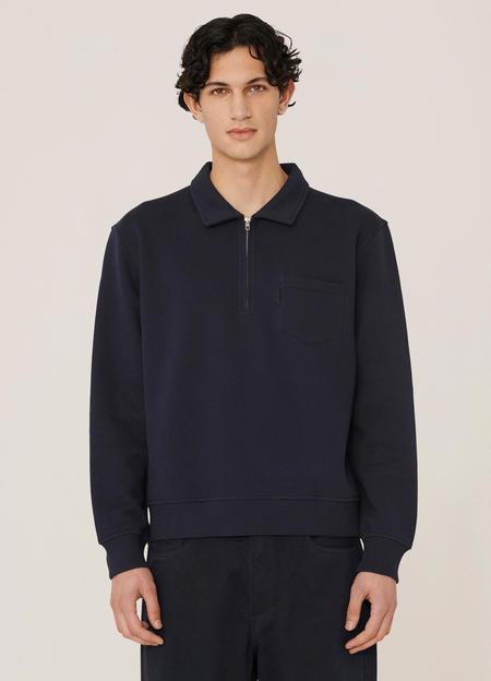 YMC Sugden Cotton Brush Back Sweatshirt - Navy