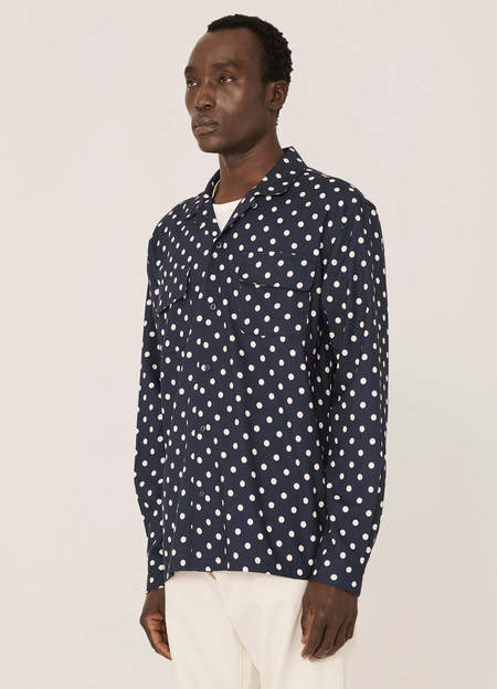 Vintage YMC Feathers Cotton Dot Print Shirt - Navy Ecru