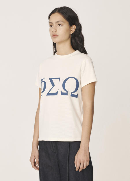 YMC Graphic Perforated Cotton Jersey T-Shirt - Ecru