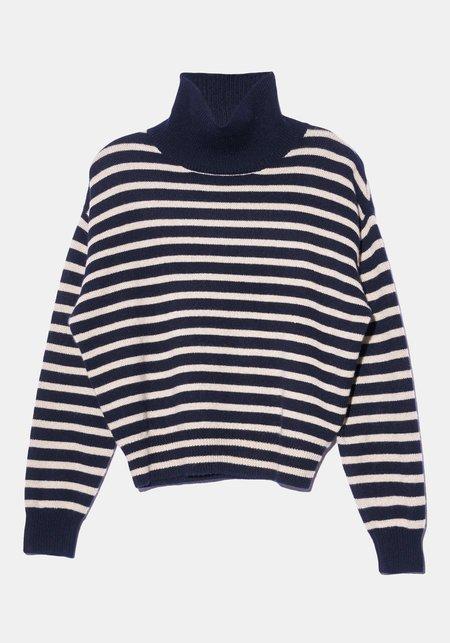 Demy Lee Emerie Stripe Turtleneck Sweater - Blue/White