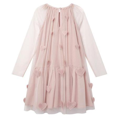 Stella McCartney Child Tulle Dress With All Over 3D Hearts Pink