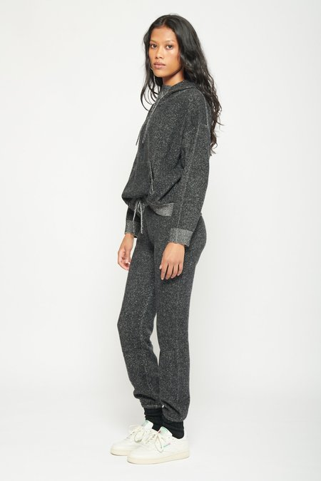 Two Tone Cashmere Sweatpants- Black