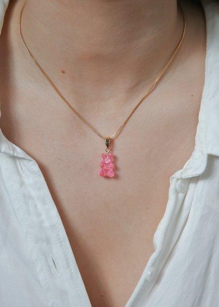 Crystal Haze Nostalgia Bear Pendant - Bubblegum- Pink