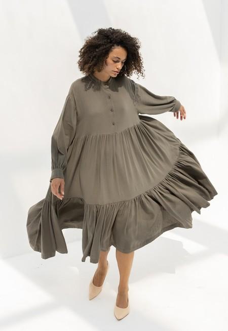 Black Crane Tent Dress - Mud