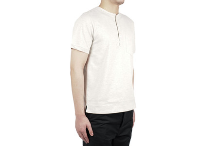 Remi Relief HEAVY GAUGE HENLEY NECK TEE - OATMEAL
