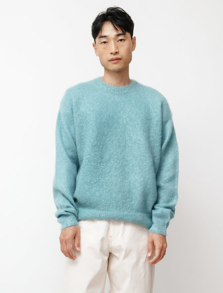 Auralee Brushed Super Kid Mohair Knit Sweater - Turquoise