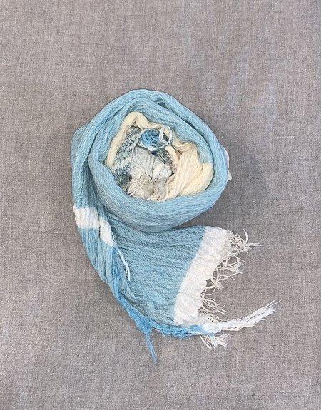 cotton scarf Tamakii Niime Small 100% Cotton Root Shawl - Blue