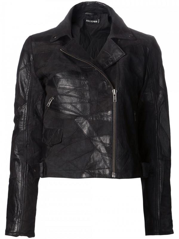 Religion patchwork leather jacket