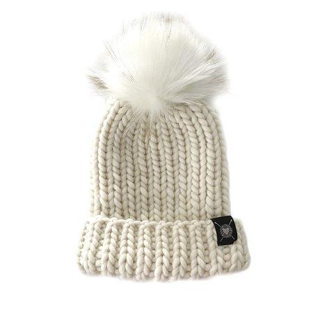 Nicki Chicki Merino Folded Brim Faux Fur Pom-Pom Beanie Hat - Winter White
