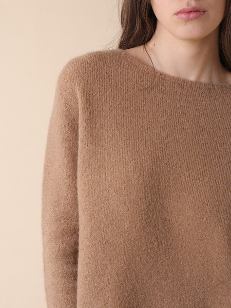 Indi & Cold Mohair Boat Neck Knit - Camel