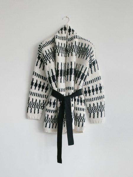 Latierra Katia Intarsia Jacket - White/Black Intarsia