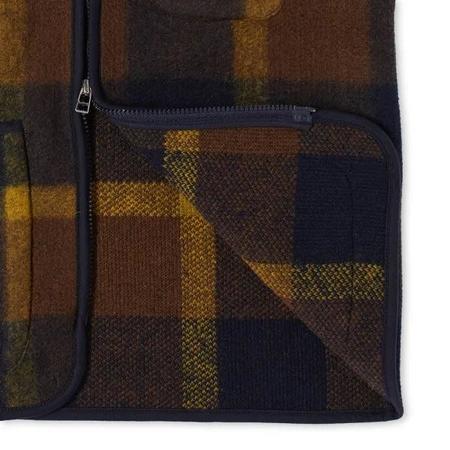 Universal Works Plaid Zip Waistcoat Gilet - Navy/Yellow