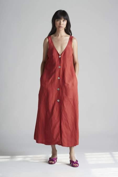 Christine Alcalay Button Front Tank Maxi Linen Dress