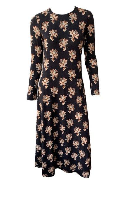 No.6 Aki Dress - Black/Cream Jacquard Floral