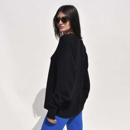 Unisex Maryam Nassir Zadeh Davis  Wool Cashmere Sweater - Black