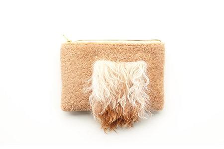 Primecut Tan Furry Patchwork Sheepskin Clutch