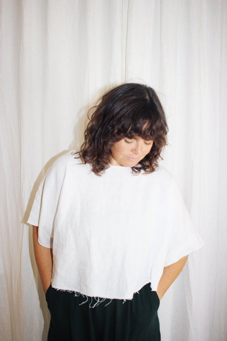 the general public Raw Crop Top - White