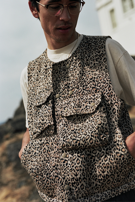 Engineered Garments  CP Leopard Jacquard Cover Vest - Beige