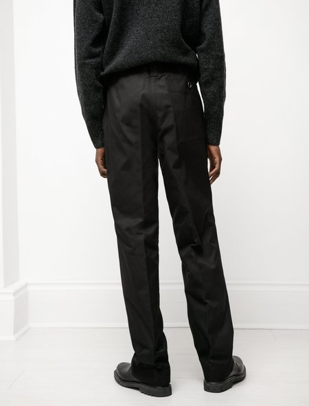 Margaret Howell Tab Adjuster Compact Cotton Trouser - Black