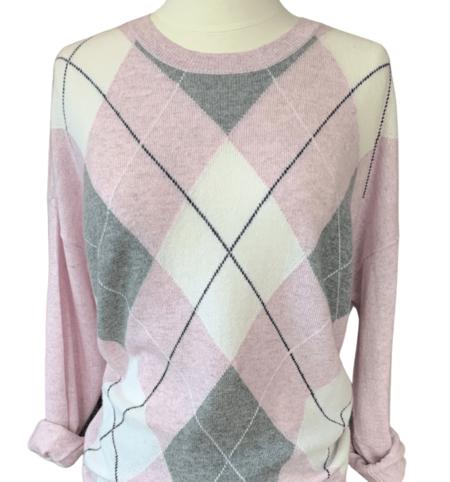 Autumn Cashmere Argyle Crew sweater - Pink Heather