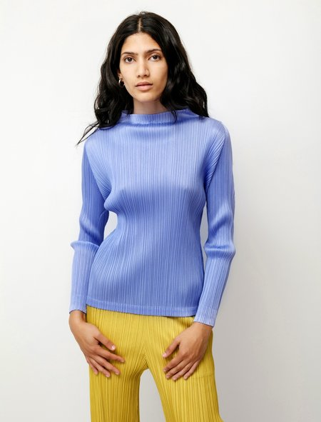 Pleats Please by Issey Miyake Long Sleeve Mock Neck top - Lilac Blue