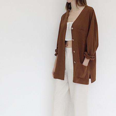 Johan Vintage Brown Raw Silk Jacket