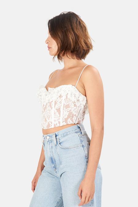 Women's For Love & Lemons Jillian Corset Crop Top - White
