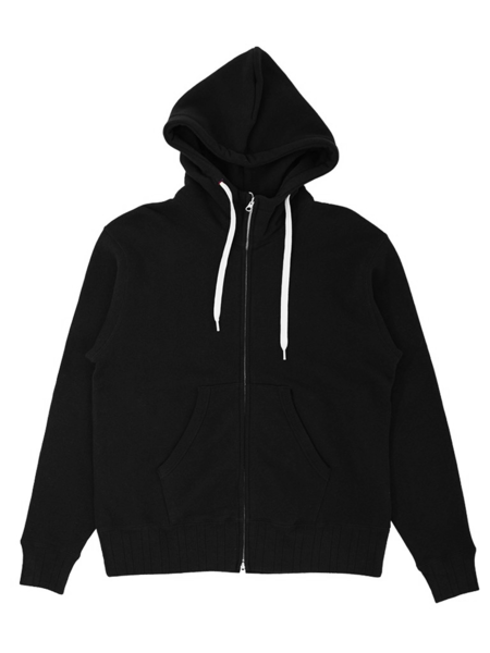 Velva Sheen Made In Japan Loopwheeler Zip Hoodie SWEATER - Black