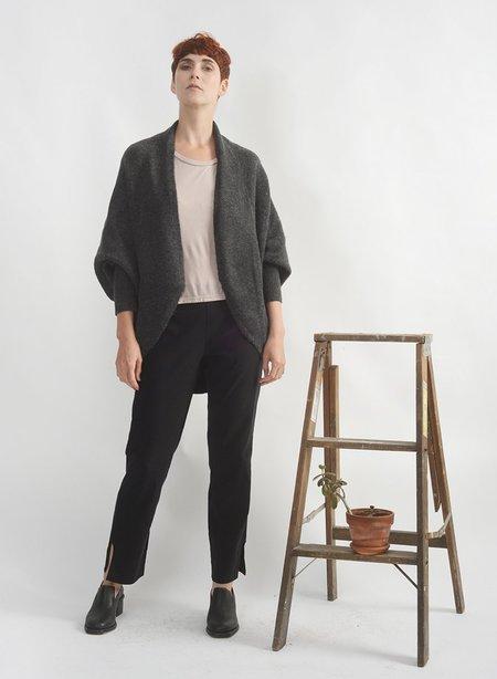 Meg Waffle Cocoon Cape sweater - Charcoal
