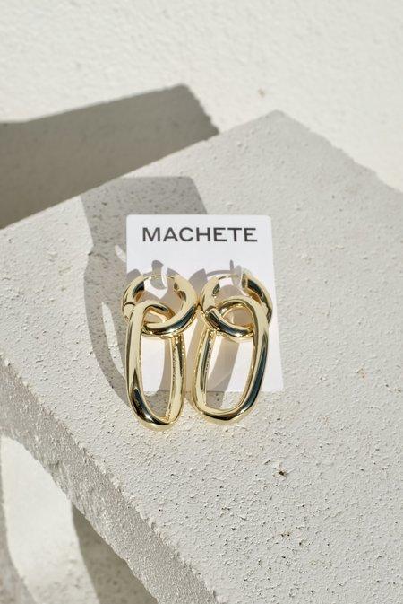 Machete Chunky Oval Charms Hoops - Gold