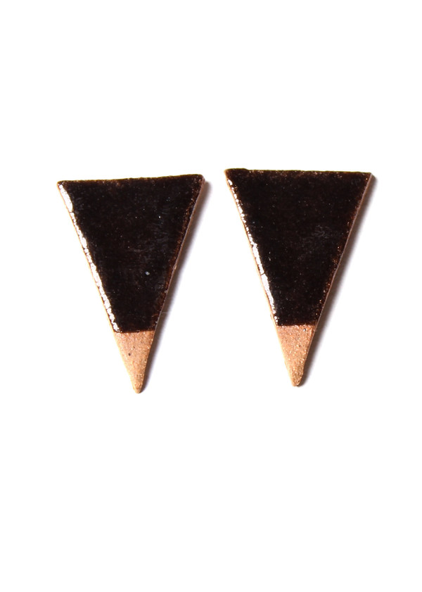 Maple & Mauve Black Triangles in Natural Stone Earrings