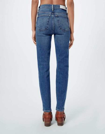RE/DONE Comfort Stretch High Rise Ankle Crop Denim - Mid 70s wash
