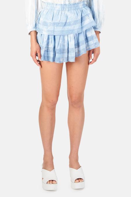 LoveShackFancy Ruffle Mini Skirt - Pacific Indigo Hand Dye