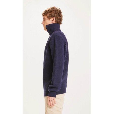 knowledge cotton apparel Valley zip merino wool rib knit sweater - navy