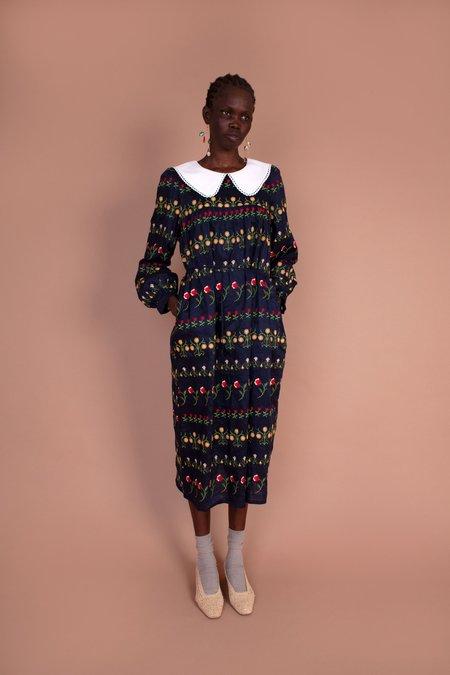 Meadows Violenne Dress - Flower Stripe Embroidery