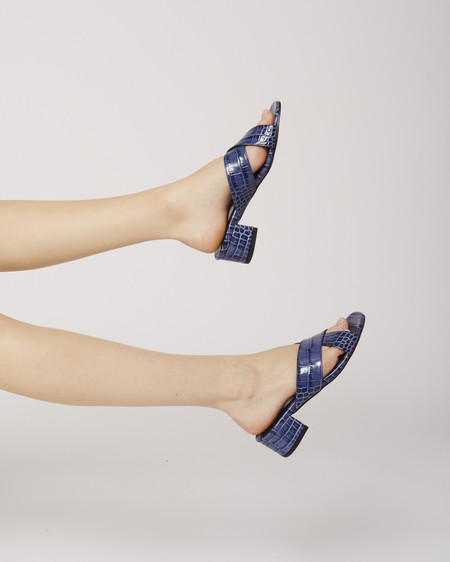 Maryam Nassir Zadeh Lauren slide in Blue croc