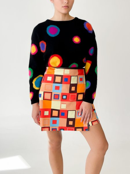 vintage Melissa Square Print Wrap Skirt - Multicolor