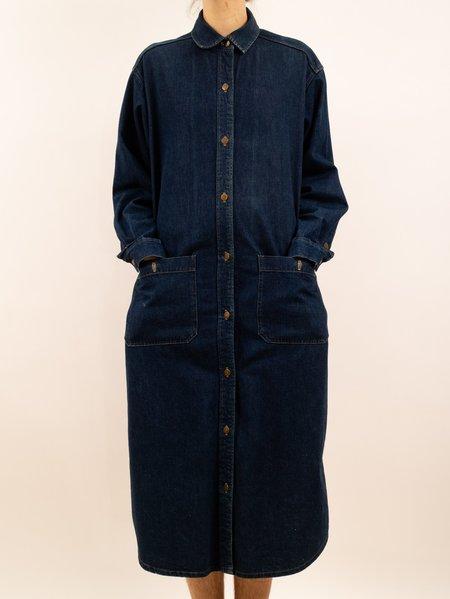 vintage 1990's Calvin Klein denim trench dress duster - dark wash