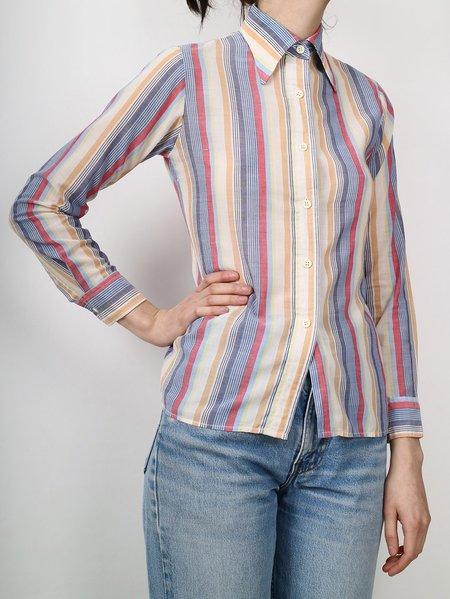 Vintage 70s striped button down top - multi