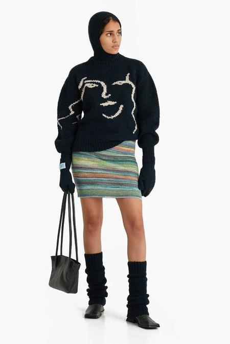 Paloma Wool Anita Face Jacquard Face Sweater - Granite Dark Green