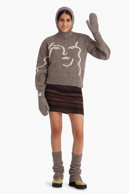 Paloma Wool Anita Face Jacquard Face Sweater - Taupe Grey