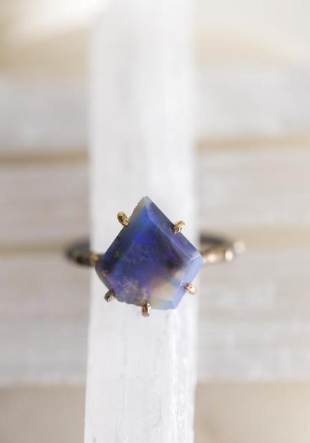 Variance Objects 14k-24k Gold, Sterling Silver and Blue Australian Opal Ring - Gold/Silver