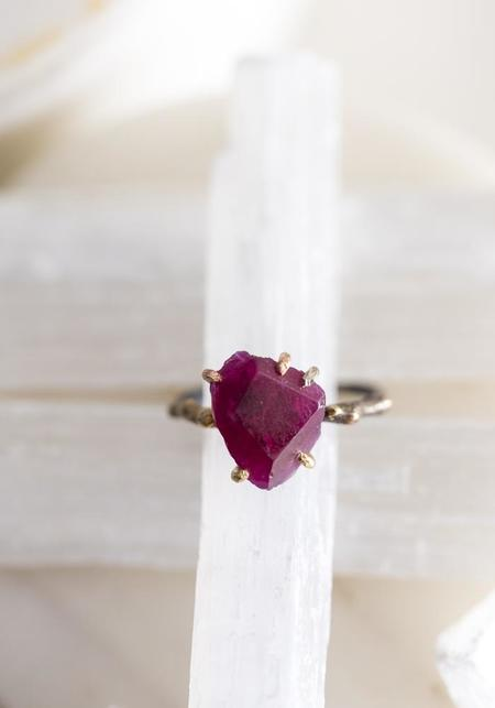 Variance Objects 14k-24k Gold, Sterling Silver and Ruby Ring - Silver